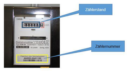 رقم عداد الكهرباء Zählernummer قراءة العداد Zählerstand التسجيل في شركة الكهرباء في المانيا