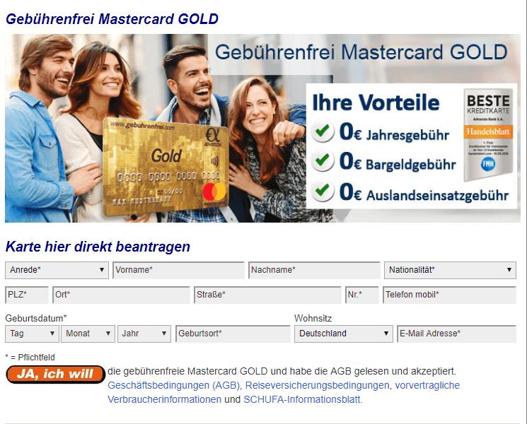gebührenfrei gold mastercard von advanzia bank www gebuhrenfrei com